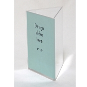 "Clear Plastic Table Tent. 4"" x 9"" Sign and Menu Display 3 sided"