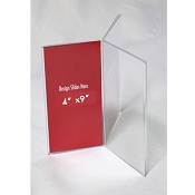 4X9 Clear Three-Panel, Six-Sided Table Tent/Sign Holder