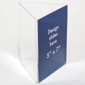 Clear Plastic Table Tent. 5 x 7 Sign and Menu Display 3 sided