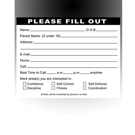 Pre-designed Martial Arts Entry Form Pad | Lead Box