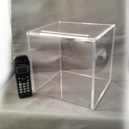 ballot box large clear plastic suggestion box very low cost usa made