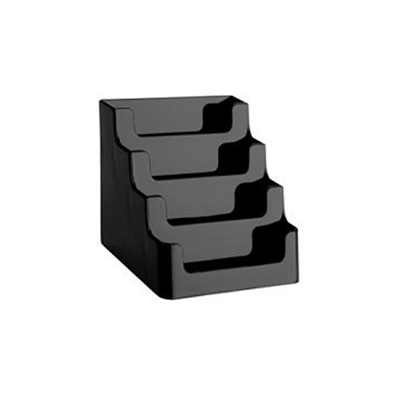 BLACK 4 Tier Gift Card Display Business Card Holder