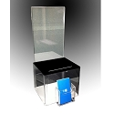 Acrylic Plastic Contest and Ballot Box with black top, business card holder