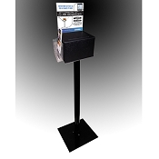 Floor Standing Black Plastic Contest Box with Stand and 8.5 x 11 Header. Comes with Lock and Tri-Fold Brochure Pocket