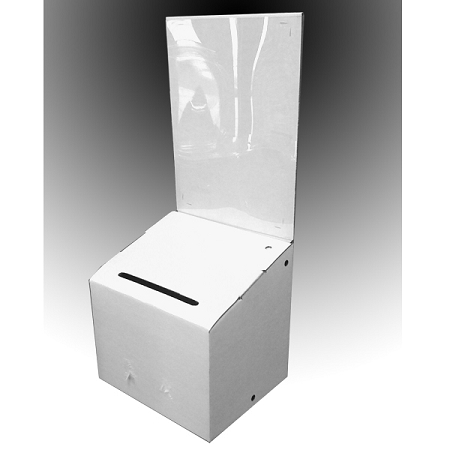 White Cardboard Suggestion Boxes - Ships today, Low Cost! Leadbox.com