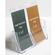 "Clear Acrylic 2-Pocket Brochure Holder for 4""w Literature"
