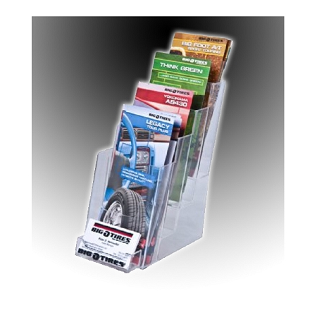 Clear acrylic 4 tier brochure holder for 4 x 9 literature for Flyer holder with business card