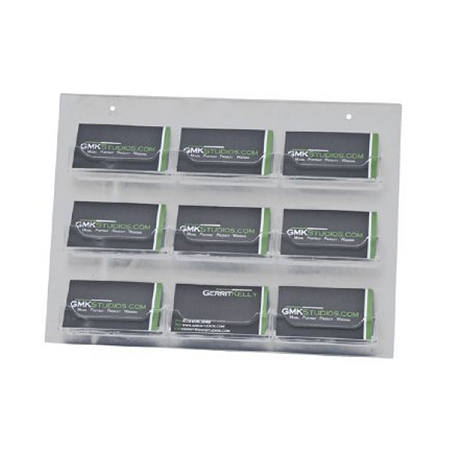 Clear Acrylic Wall Mount 9 Pocket Business Card Holder