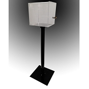 Floorstanding Registration Box with stand and base. Sign holder on front.