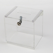 Compact Clear Tip Box or Donation box with lock - OUT OF STOCK