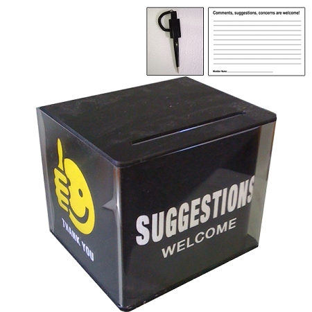 Plastic Suggestion Box With Design Insert Security Pen