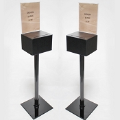 Floor Standing Plastic Donation Box with Stand and 8.5 x 11 Display