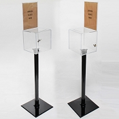Floor Standing Clear Plastic Ballot Box with 8.5w x 11 Sign Holder
