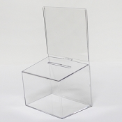 Clear Plastic Fundraising Collection Box 5.2w x 4.5h display area