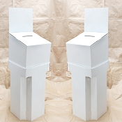 White Floorstanding cardboard contest box - OUT OF STOCK