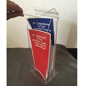 Clear Plastic Outdoor 2-Tier Outdoor Tri-Fold Brochure Holder (Peel & Stick)