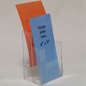 "Clear Acrylic 2-Tier Brochure Holder for 4""w Literature -Countertop"
