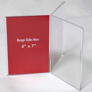 "5""w x 7""h Clear Three-Panel, Six-Sided Table Tent/Sign Holder"