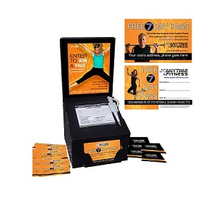 2 in 1 entry box: comes with 25 Promo Boxes, 25 Decal Artwork, 25 Security Pen, 25 Anytime Fitness Entry Pads and 2500 guest passes -(orange)