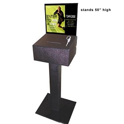"Floorstanding Anytime Fitness Lead Box with Lock - 50""high. Also Included: Design Insert, 2 security pens & 2 entry pads"