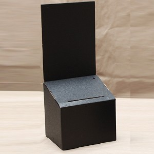 Black Cardboard Sweepstake box with 6 x 8 sign display.