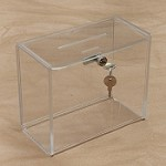 Clear Charity, Tip and Donation Box with Lock