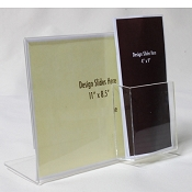 "Clear Acrylic 11""x8.5""h Sign Display with brochure pocket, slant back"