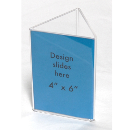 clear plastic table tent 4 x 9 sign and menu display 3 sided