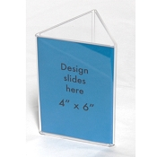 "Clear Plastic Table Tent. 4"" x 6"" Sign and Menu Display 3 sided"
