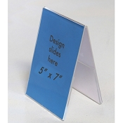 "Clear Plastic Table Tent. 5"" x 7"" Sign and Menu Display"