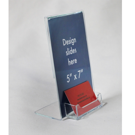 5x7 Sign Holder With Business Card Pocket Clear Plastic