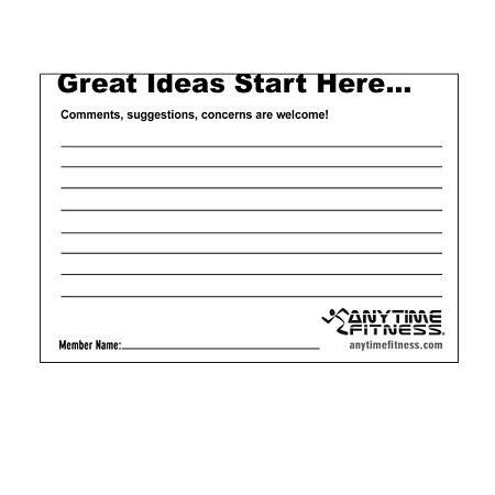 Suggestion Pad For Anytime Fitness