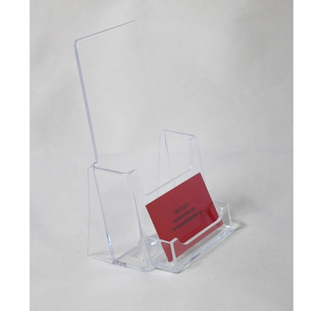 Clear acrylic brochure holder for 4 18w literature with business clear acrylic brochure holder for 4 18w literature and business card holder reheart Gallery