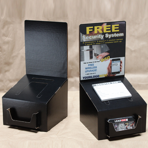 Ballot box in black with business card pocket medium black matte ballot contest box size 7w x 7d x 55h display area 7w x 8h comes with detachable business card holder colourmoves