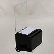 Small, black or clear donation box -Display Size 5.5 x 8
