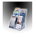 Clear Acrylic Wall Mount/Countertop 3-Tier Brochure Holder for 8.5w Literature -Removable Dividers