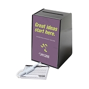 Anytime Suggestion Box comes with design insert, 1 pen and 5 suggestion pad.