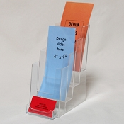 Clear Acrylic 4-Tier Brochure Holder for 4 x 9 Literature with Business Card Holder