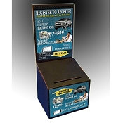 Countertop Cardboard Ballot Box with Custom Label Decals (Available in Black, White, Blue or Mustard Yellow)