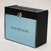 Black Countertop Locking Donation Box with sign holder in front
