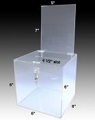Medium countertop clear plastic locking donation box with removable header