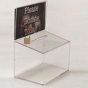 Compact Countertop Donation Box with Lock 5w x 3h sign holder