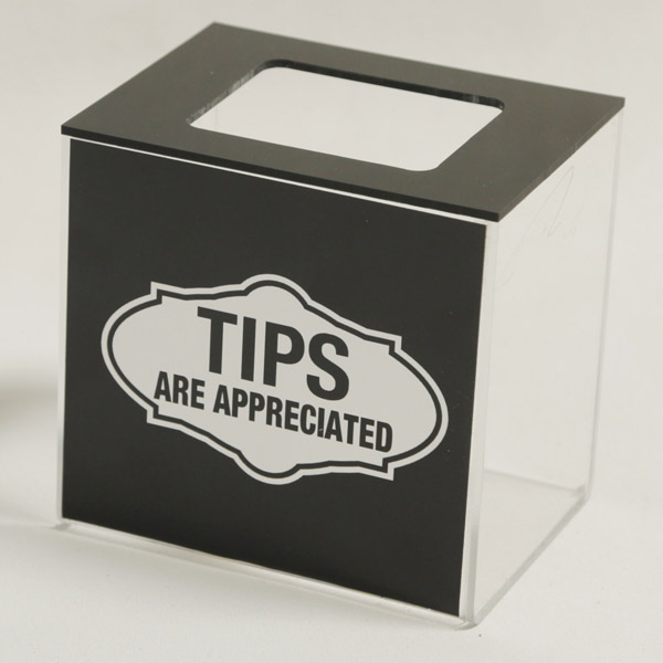 professional tip jars and tip boxes sold here