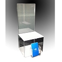Plastic Contest and Ballot Box with business card holder - White top