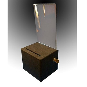 Lockable Black Plastic Ballot Box:  5.5w x 8.5h display area