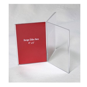 4w x 6h Clear Three-Panel, Six-Sided Table Tent/Sign Holder