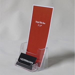 Clear acrylic brochure holder for 4 18w literature with business clear acrylic brochure holder for 4 18w literature with business card pocket reheart Gallery
