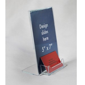 5x7 Plastic Sign Holder with business card pocket