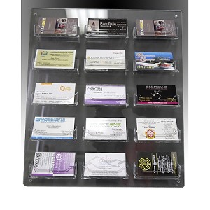 Clear acrylic wall mounted sign holder 15 business card holders colourmoves