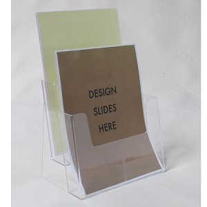 "Wall Mount or Countertop Clear Acrylic 2-Tier Brochure Holder for 8.5""w Literature"